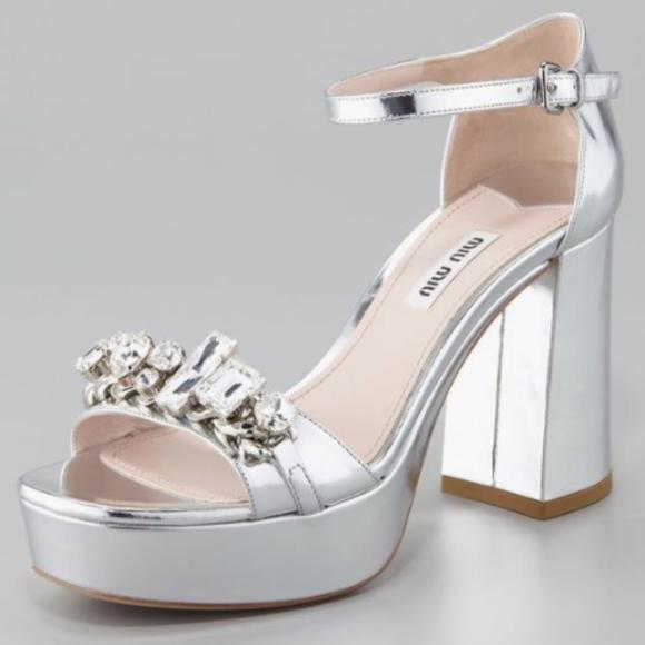 ac34a198d88 Miu Miu metallic silver sandals size 11 NWB NWT